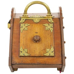 Antique Coal Hod, Walnut Coal Box, Coal Scuttle, Brass, Scotland 1880, B1258