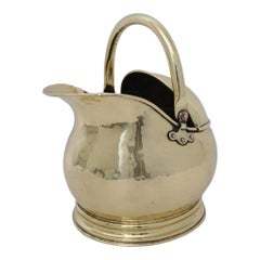 Antique Coal Scuttle Polished Brass for Firewood Holder