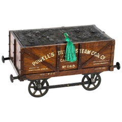 Antique Coal Wagon Oak Humidor Railway Interest, 19th Century