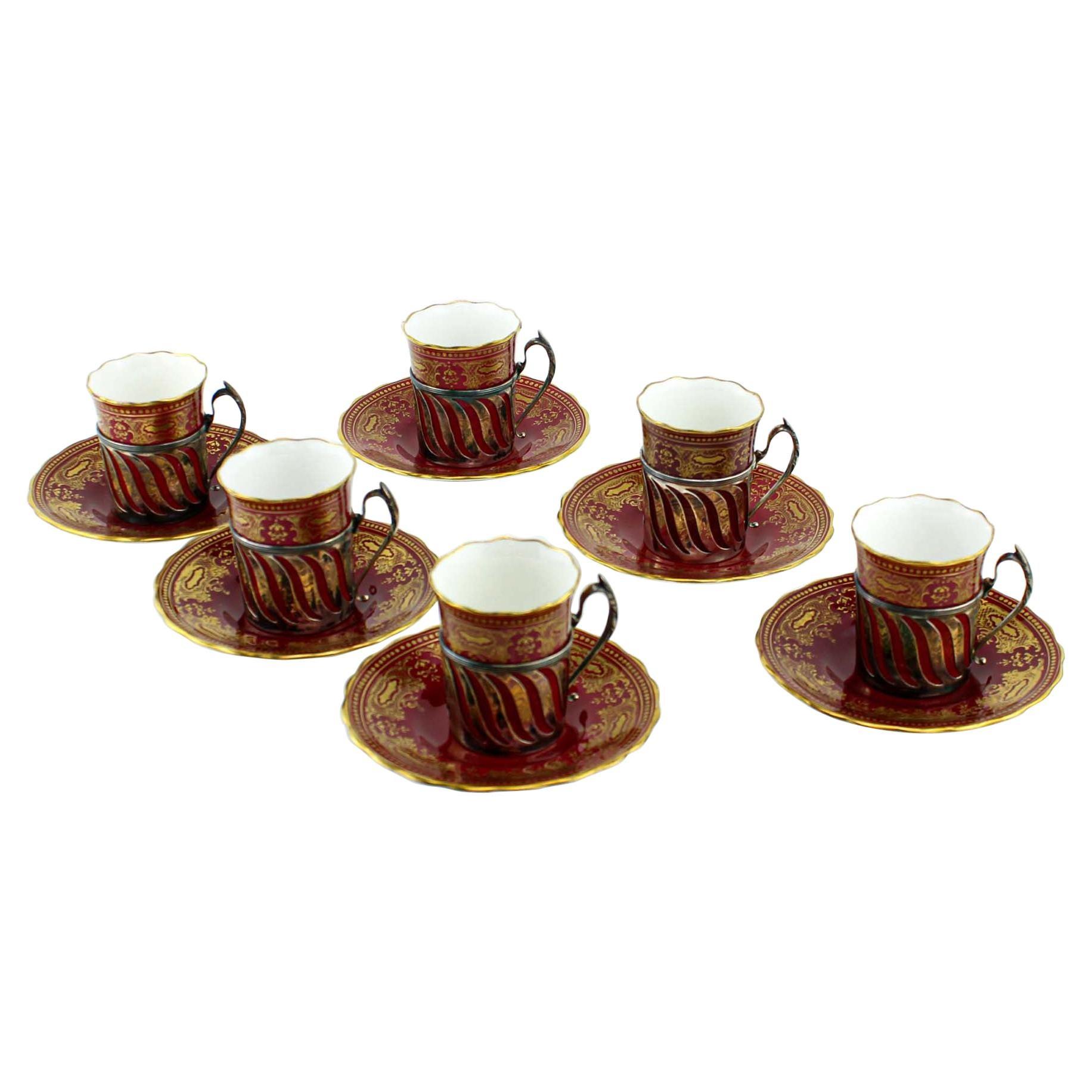 Antique Coalport Porcelain Espresso Coffee Service Set of 6 Cups and Saucers
