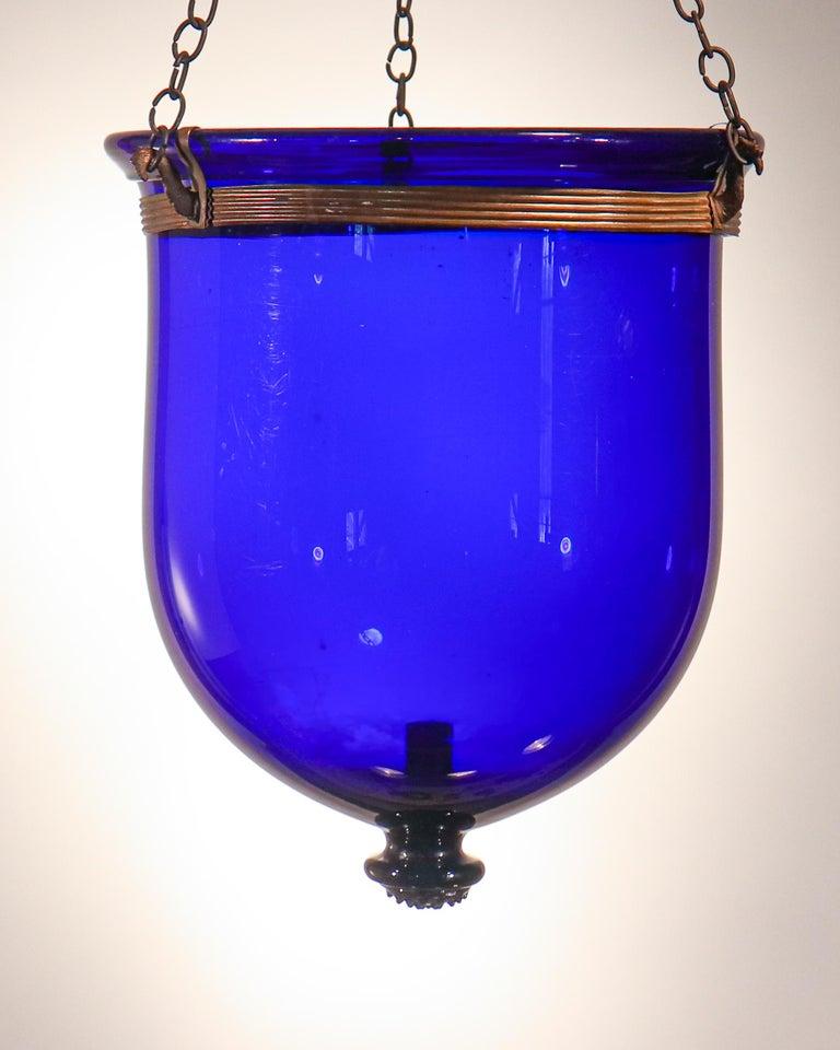 Antique Cobalt Blue Bell Jar Lantern For Sale 3
