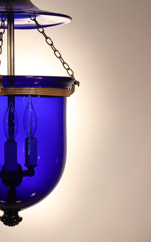 Victorian Antique Cobalt Blue Bell Jar Lantern For Sale