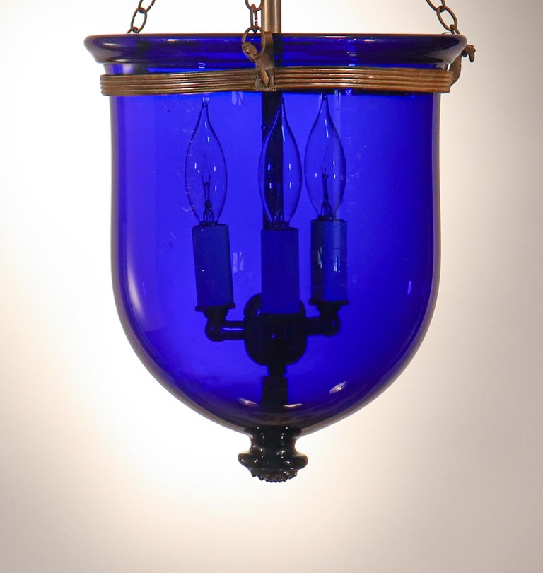 English Antique Cobalt Blue Bell Jar Lantern For Sale