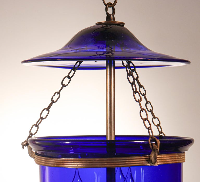 19th Century Antique Cobalt Blue Bell Jar Lantern For Sale