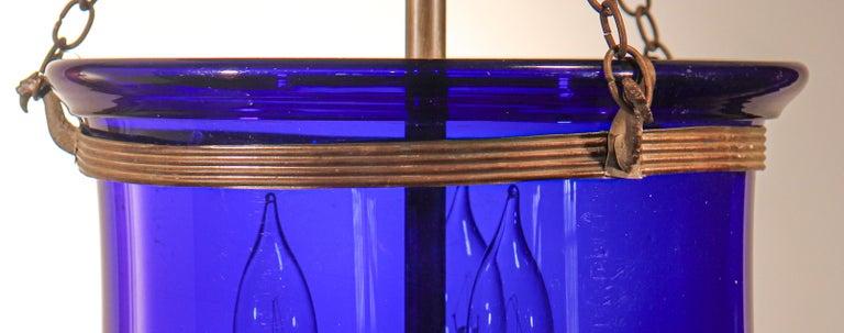 Brass Antique Cobalt Blue Bell Jar Lantern For Sale