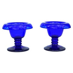 Antique Cobalt Blue Glass Compotes