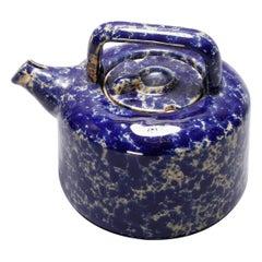Antique Cobalt Blue Sponge Wear Pottery Teapot with Strainer, 19th Century