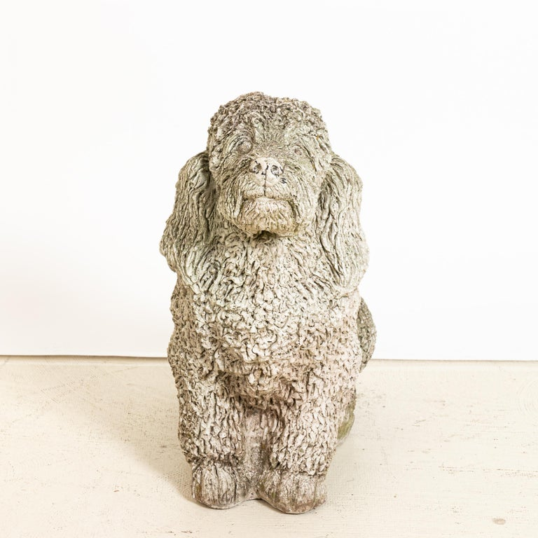 Unique cast stone garden statue in the shape of a cocker spaniel dog. Made in England in the early 20th century, this charming statue a playful element to add to the landscape. Nice texture at the curly coat of the dog. Good condition, weathered