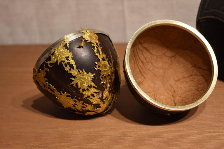 Belgian Antique Coconut Box Decorated with Gold Brass Cagework in Original Case For Sale
