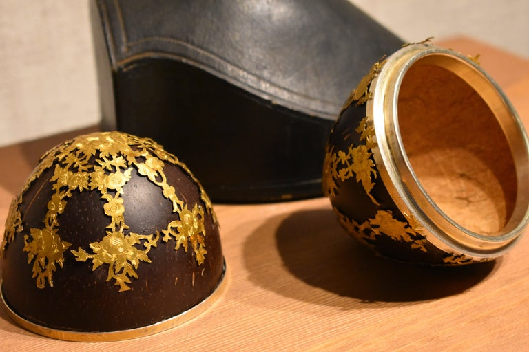 Hand-Carved Antique Coconut Box Decorated with Gold Brass Cagework in Original Case For Sale