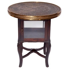 Antique Coffee Table with Glass Bar