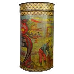 Antique Coffee Tin Box from Brussels Belgium, Art Nouveau Period