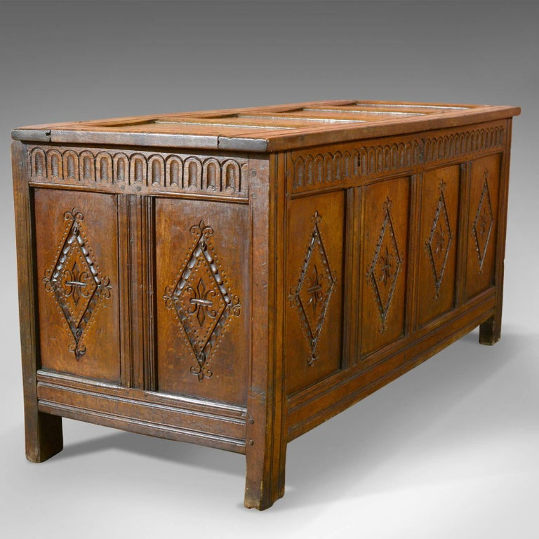 British Antique Coffer, Charles II Chest, circa 1680 For Sale