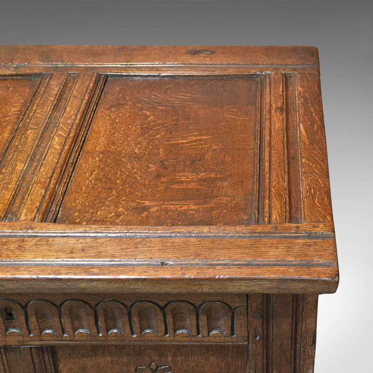 Hand-Carved Antique Coffer, Charles II Chest, circa 1680 For Sale