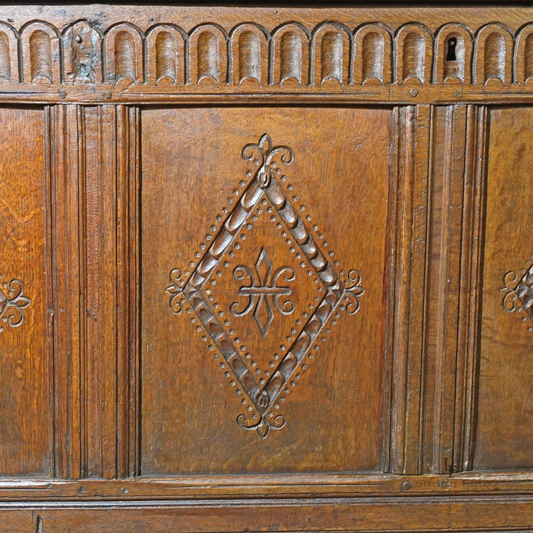 Oak Antique Coffer, Charles II Chest, circa 1680 For Sale