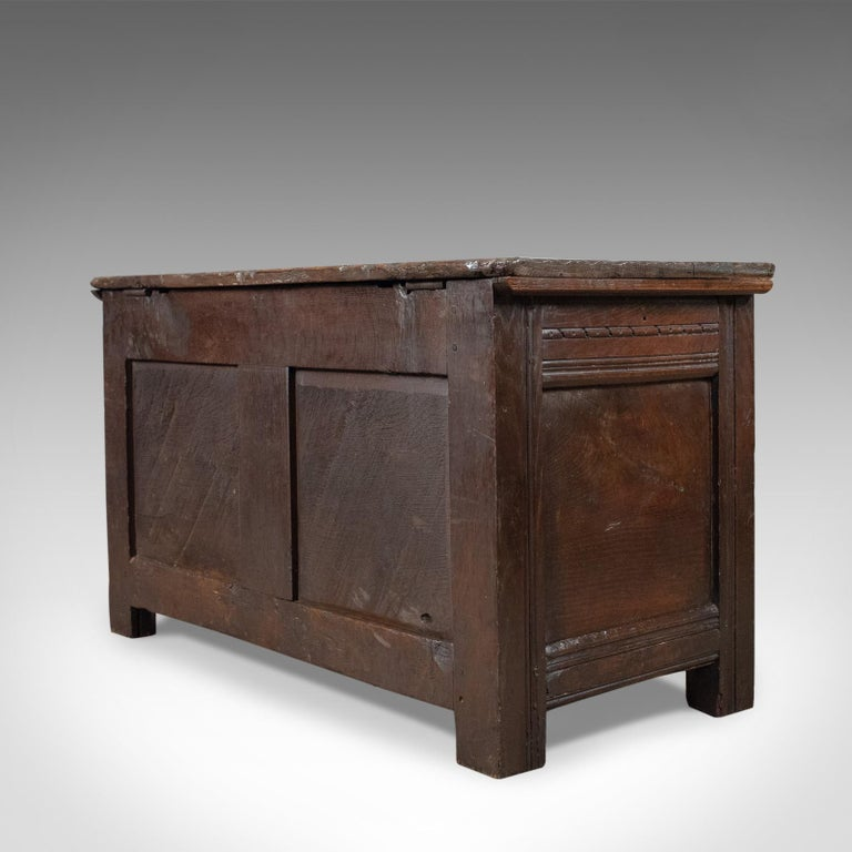 Antique Coffer, English, Oak, Joined Chest, Trunk, Late 17th Century, circa 1700 In Good Condition For Sale In Hele, Devon, GB