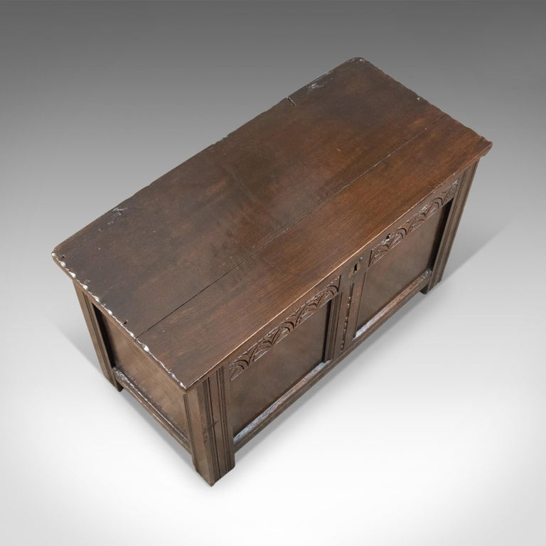 Antique Coffer, English, Oak, Joined Chest, Trunk, Late 17th Century, circa 1700 For Sale 1