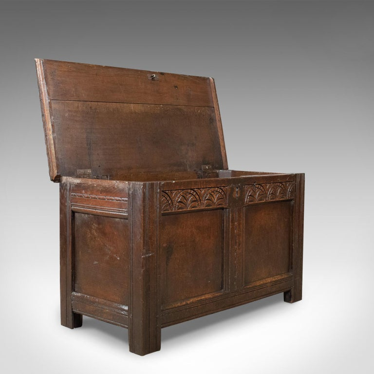 Antique Coffer, English, Oak, Joined Chest, Trunk, Late 17th Century, circa 1700 For Sale 2