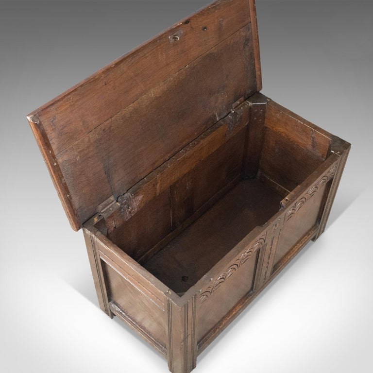 Antique Coffer, English, Oak, Joined Chest, Trunk, Late 17th Century, circa 1700 For Sale 3