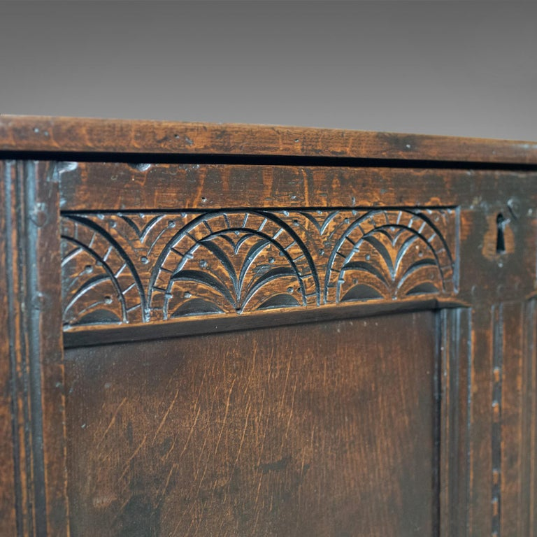 Antique Coffer, English, Oak, Joined Chest, Trunk, Late 17th Century, circa 1700 For Sale 4