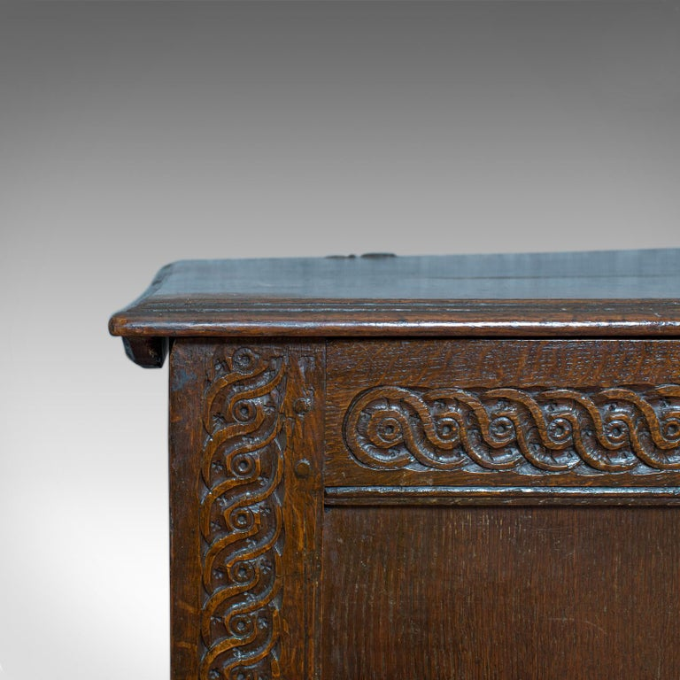Antique Coffer, Large, English Oak, Joined Chest, Charles II Trunk, circa 1685 For Sale 6