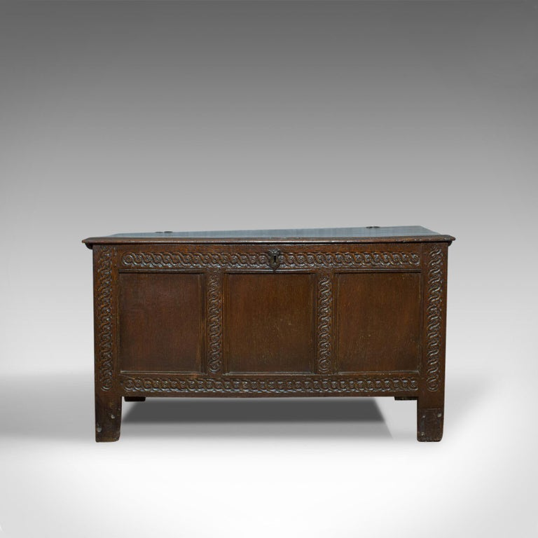 Antique Coffer, Large, English Oak, Joined Chest, Charles II Trunk, circa 1685 In Good Condition For Sale In Hele, Devon, GB