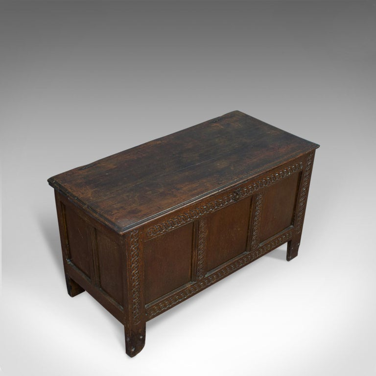 Antique Coffer, Large, English Oak, Joined Chest, Charles II Trunk, circa 1685 For Sale 2