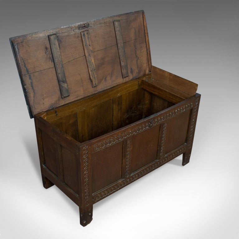 Antique Coffer, Large, English Oak, Joined Chest, Charles II Trunk, circa 1685 For Sale 3