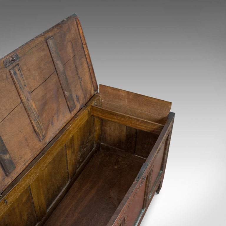 Antique Coffer, Large, English Oak, Joined Chest, Charles II Trunk, circa 1685 For Sale 4