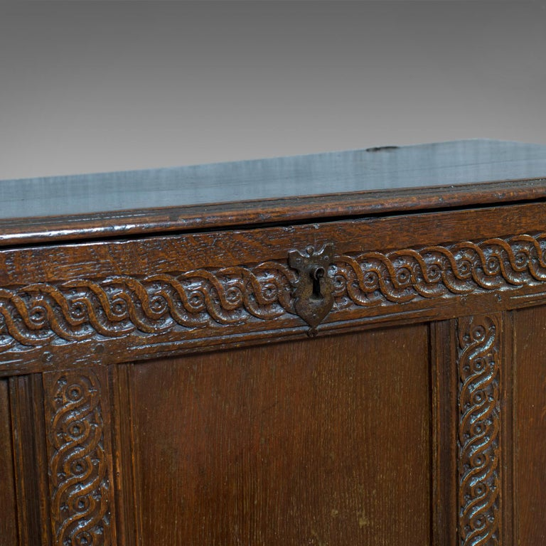 Antique Coffer, Large, English Oak, Joined Chest, Charles II Trunk, circa 1685 For Sale 5