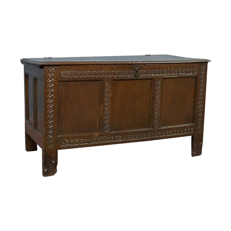 Antique Coffer, Large, English Oak, Joined Chest, Charles II Trunk, circa 1685 For Sale