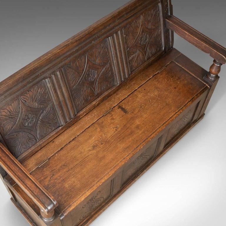 18th Century Antique Coffer Settle English Oak Bench, Chest, Trunk Seat, circa 1700