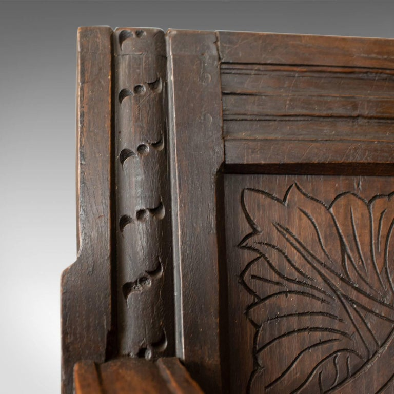 Antique Coffer Settle English Oak Bench, Chest, Trunk Seat, circa 1700 1