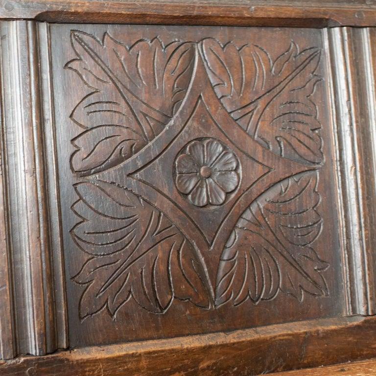 Antique Coffer Settle English Oak Bench, Chest, Trunk Seat, circa 1700 2