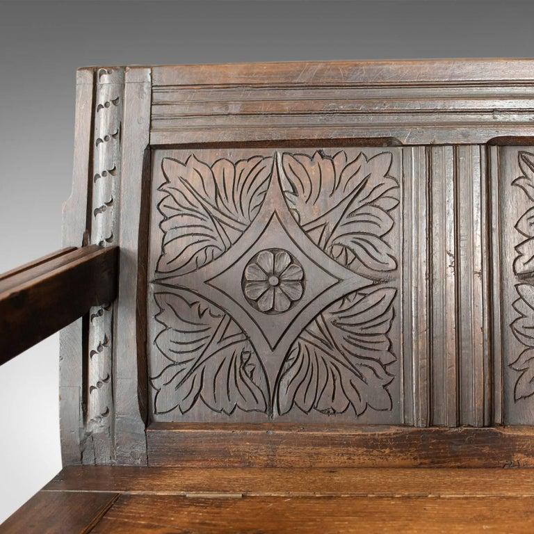 Antique Coffer Settle English Oak Bench, Chest, Trunk Seat, circa 1700 3