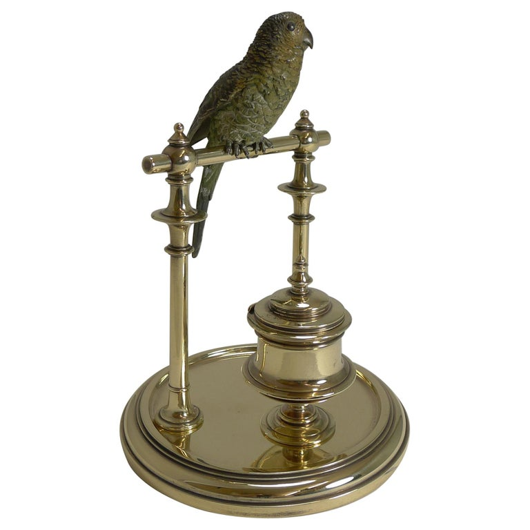 Antique Cold Painted Bronze Budgerigar Parakeet Inkwell