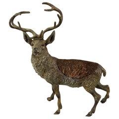 Antique Cold Painted Bronze Elk Animal Sculpture Pen Wiper, Austria, circa 1910