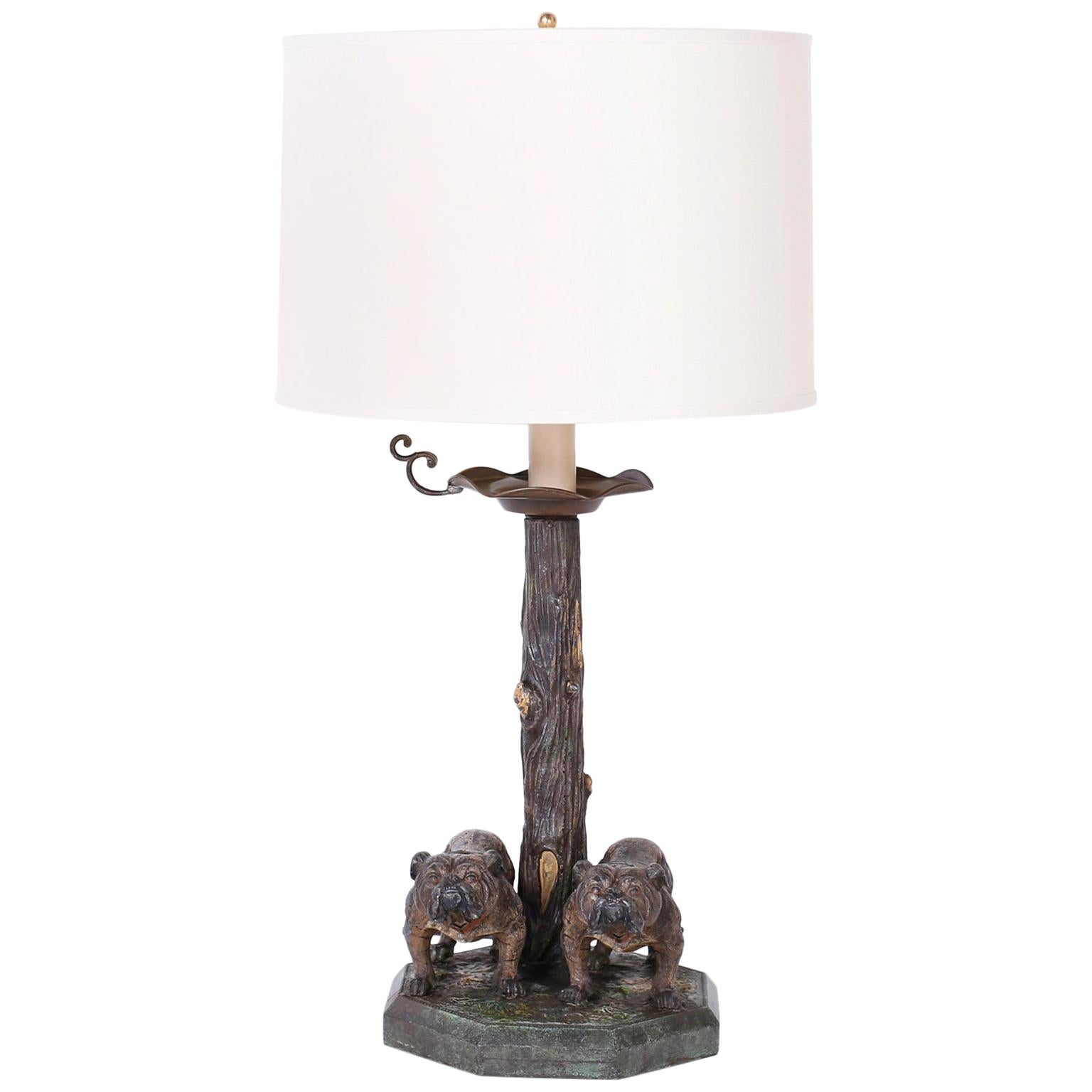 Antique Cold Painted Bronze Table Lamp with Bulldogs