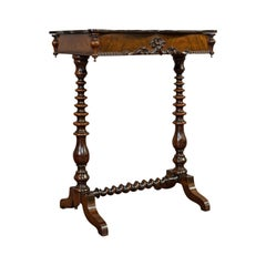 Antique Collector's Table, Walnut, Rosewood, Craft, Hobby Stand, Victorian, 1900