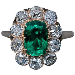 Antique Colombian Emerald and Diamond Engagement Ring