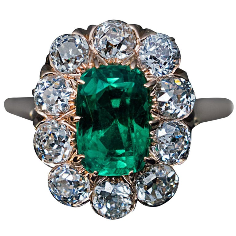 Antique Engagement Rings For Sale: Antique Colombian Emerald And Diamond Engagement Ring For
