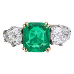 Antique Colombian Emerald and Diamond Ring with AGL Gem Report