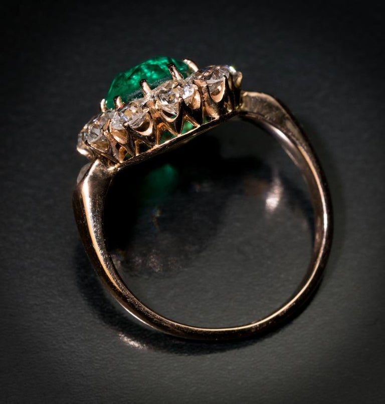 Victorian Antique Colombian Emerald Diamond Engagement Cluster Ring For Sale