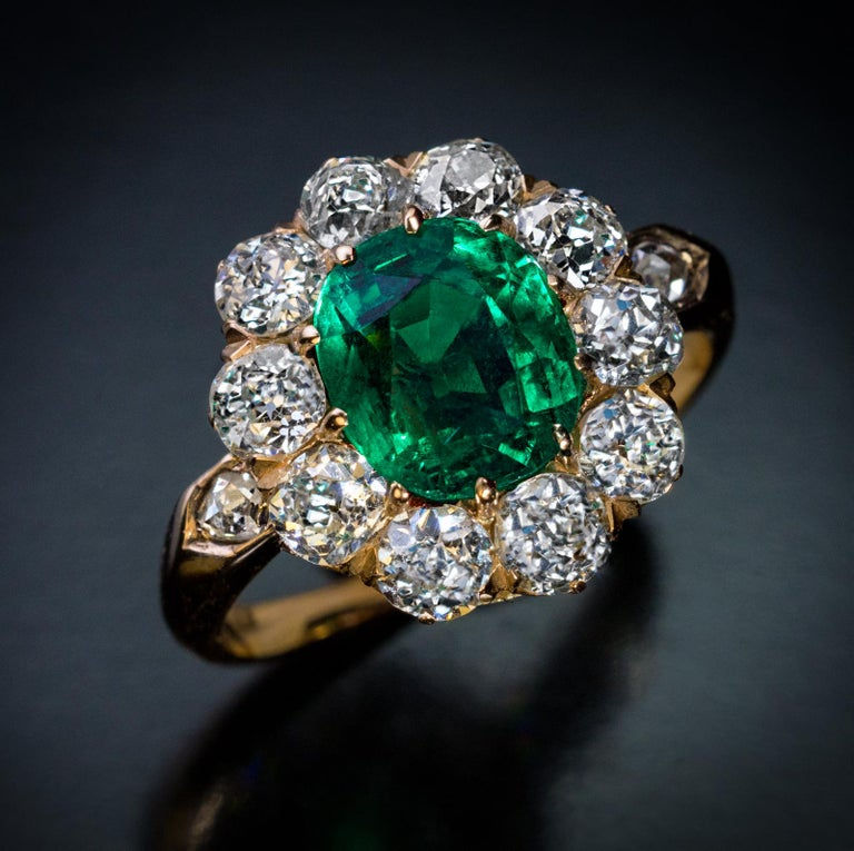 Antique Colombian Emerald Diamond Engagement Cluster Ring For Sale 2
