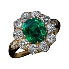 Antique Colombian Emerald Diamond Engagement Cluster Ring