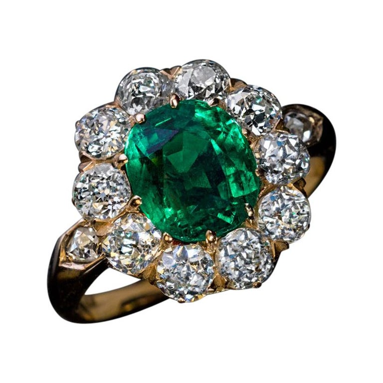 Antique Colombian Emerald Diamond Engagement Cluster Ring For Sale