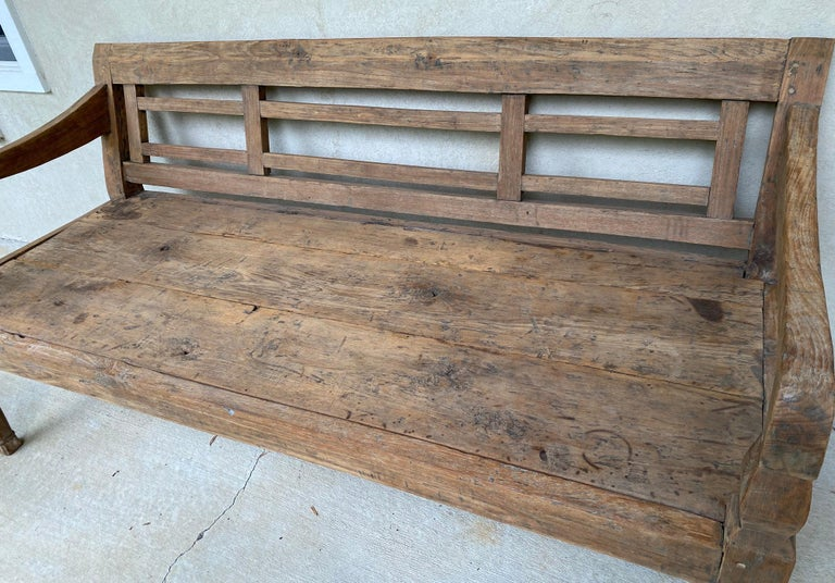 Indonesian Antique Colonial Teak Wood Daybed Bench For Sale
