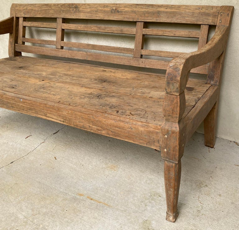 Hand-Crafted Antique Colonial Teak Wood Daybed Bench For Sale
