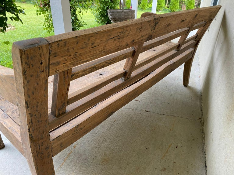 Antique Colonial Teak Wood Daybed Bench In Good Condition For Sale In Great Barrington, MA