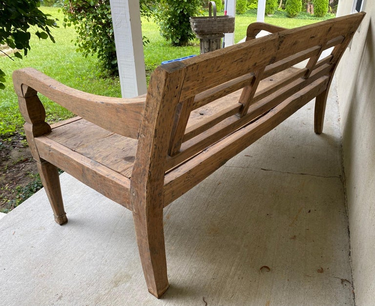 20th Century Antique Colonial Teak Wood Daybed Bench For Sale